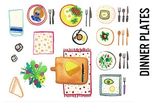 Dinner Plates Watercolor Clipart