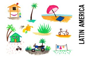 Latin America Watercolor Doodles