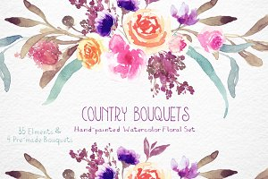 Country Bouquets - Watercolor Floral