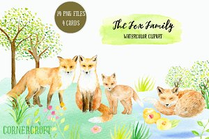 Watercolor Clipart Fox Family