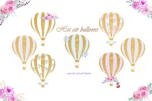 Hot air Balloons with gold