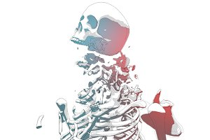 Shattering Skeleton Illustration