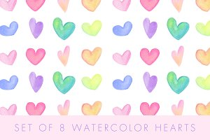 8 Watercolor Hearts