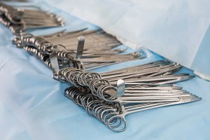 Surgical clips on the table