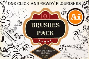 Big set of floral brushes