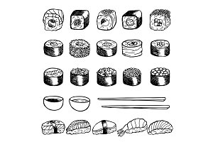 Sushi Set + Seamless Pattern