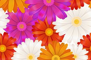 Gerbera flowers seamless pattern