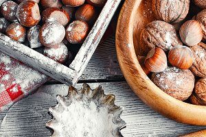 kitchen utensils and nuts