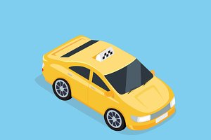 Flat 3d Isometric Car Taxiv