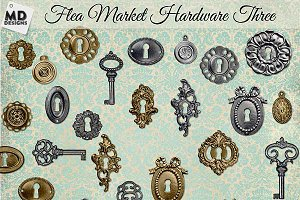 Silver & Gold Vintage Keys Key Holes