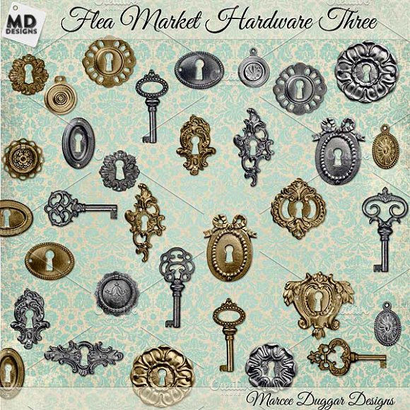Silver Gold Vintage Keys Key Holes Objects