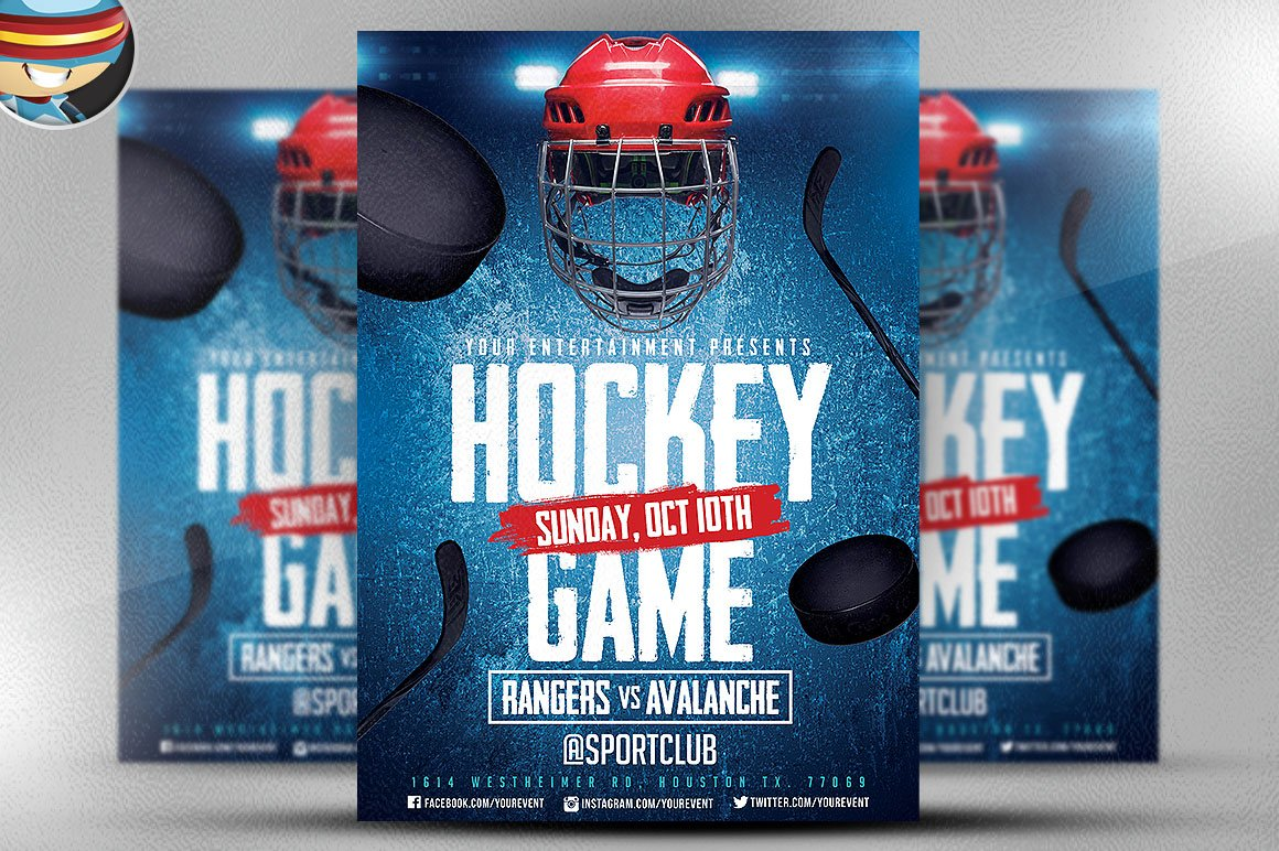 ice hockey flyer template 2 flyer templates creative market. Black Bedroom Furniture Sets. Home Design Ideas