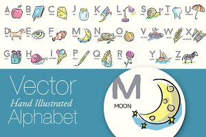 Vector Brush Illustrated Alphabet