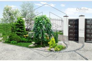Property line exterior, 3D render