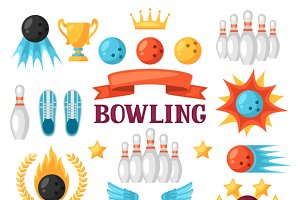 Set of bowling game items.