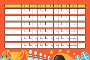 Bowling score sheets.