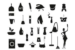 Silhouette Laundry and Washing Icons