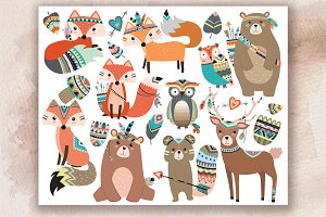 Woodland Tribal Animals V.2 Clipart