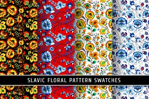 Floral slavic seamless patterns #2