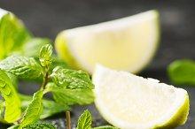 Fresh lemon and green mint