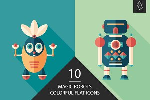 Magic robots flat square icon set