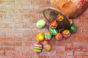 Set of colorful Easter egg on wall
