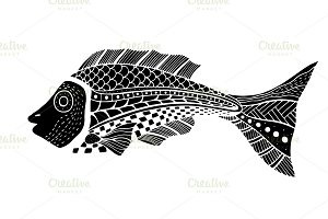 Tangle Patterns stylized Fish.