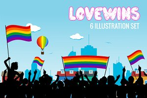 Lovewins LGBT 6-Illustration Set