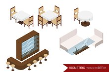 Isometric restaurant set. Interior.