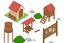 Isometric farm. Elements for game.