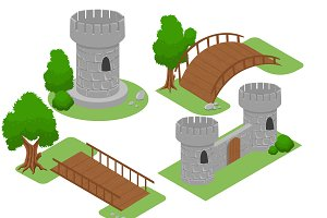 Isometric for game bridge castle.