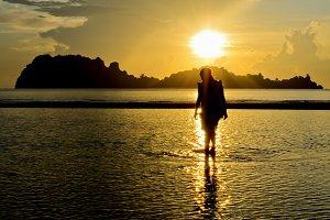 Girls on during sunrise