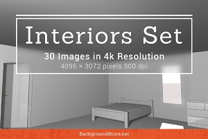 White Interiors Backgrounds Set