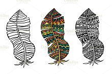 Vector stylized feathers