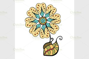 colored doodle flower