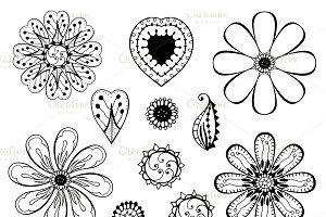 monochrome doodle flowers and leafs