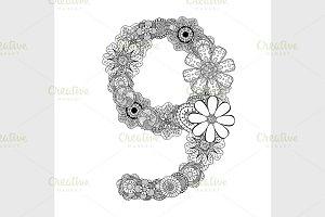 decorative number nine