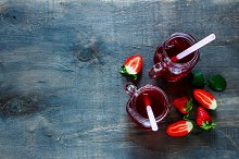 Summer drink with strawberry