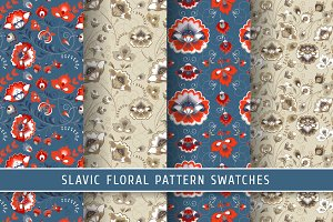 Floral slavic seamless patterns #4