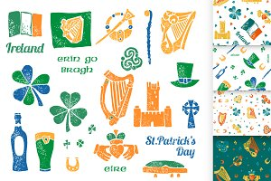 Irish set and seamless patterns