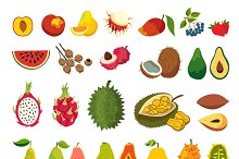 Exotic fruits vector set