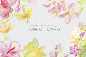 Watercolor Tropical Flowers