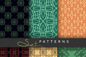 Set 6 seamless retro patterns