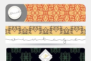 Set 4 banners geometric patterns