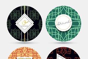 Templates vintage round napkin