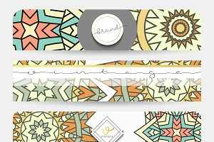 Mandala. Set 4 banners patterns