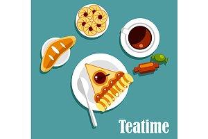 Teatime food flat icons