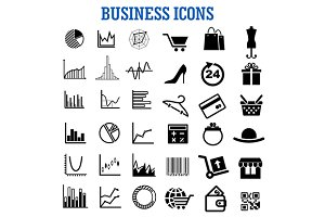 Business, finance, retail flat icons
