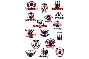 Bowling club or tournament icons