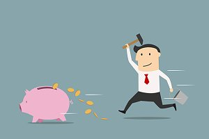 Businessman running piggy bank